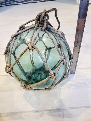 """Vintage Japanese Netted Glass Fishing Float Marshall Islands 39"""" Circumference"""