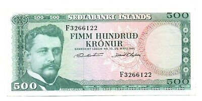 Iceland Republic Central Bank Sedlabanki Islands 500 Kronur 1961 VF Pick #45a