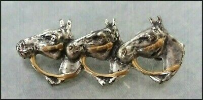 Vintage 1950s Silver tone and Gold tone Equine Three Horses Horse Brooch Pin
