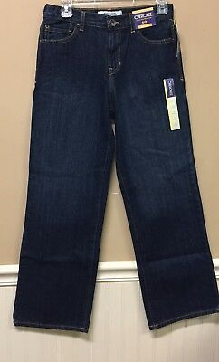 NWT CHEROKEE Boys Relaxed Fit Dark Wash Denim Jeans Size 14 Adjustable Waist