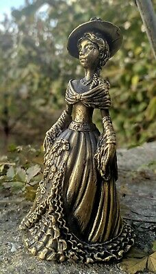 Figural Hand Bell Lady in ball gown with Shawl stole Vintage Style Collectible Brass Bronze