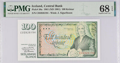 Iceland 100 Kronur 1961/1981 P 50 Superb Gem UNC PMG 68 EPQ Top Pop
