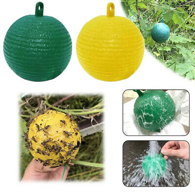 Hanging Ball Fruit Fly Catcher Sticky Trap Disposable Wasp Bee Yellow JacketQC