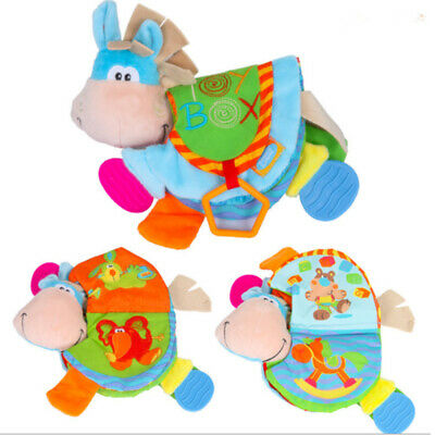 0-12 Month Baby Rattles Teether Cloth Book Toys Cute Donkey Animal ToddlersQC