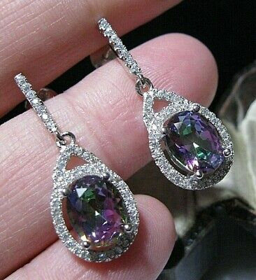 Gorgeous Classical Sterling Silver Real Amethyst Stone Stud 10mm x 7mm EARRINGS