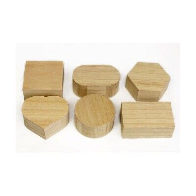 6 x Wooden Shaped Trinket Boxes Plain Wood Decoupage Hand Craft Party Ideas