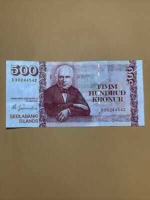 Iceland 500 Kroners AU Circulated Paper Money - Dated 2001 - P#58 (One Sig)