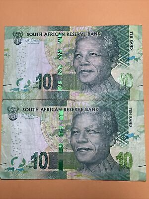 South Africa 10 Rand 2 Current Circulated Paper Money - Series 2012 - P#133, 138