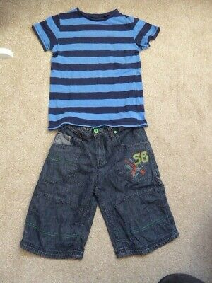 Boys Next Blue Stripey Top and Denim Shorts Bundle Age 10 years