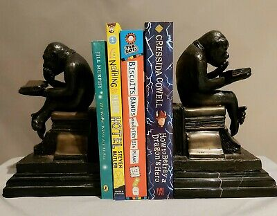 Pair of Signed Bronze (not resin) & marble based novelty bookends Monkey - Chimp