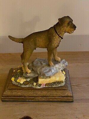 "Border Terrier Dog Antique Hand Painted ""Best Of Breed"" By Nature Craft 2005"