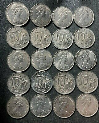 Old Australia Coin Lot - 1966-1982 - 10 CENTS - 20 Older Coins - Lot #M3