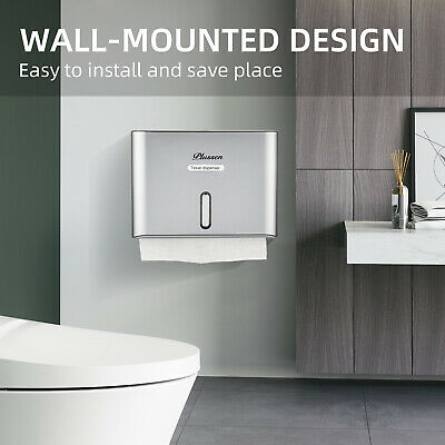 Toilet Paper Towel Dispenser Wall Mounted with Key Lock, Multifold C-Fold Silver