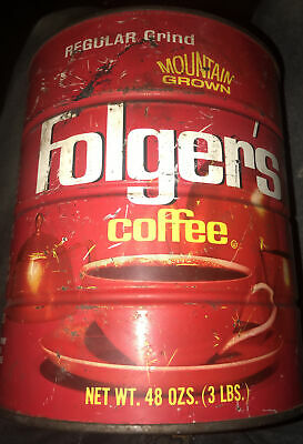 Vintage Mountain Grown Folgers Coffee Can No Lid.  Number 208N6
