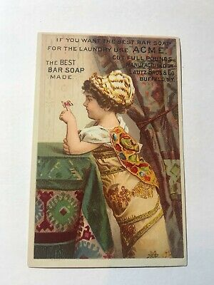 1800's Lautz Bros & Co Acme Bar Soap Child With Butterfly Victorian Trade Card