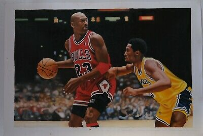 "Michael Jordan Kobe Bryant Original, Oil Painting. 1 of 1. 35"" X 23"""