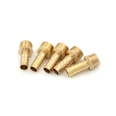 """5Pcs 1/4""""PT Male Thread to 8mm Hose Barb Brass Straight Coupling Fitting JE WA"""