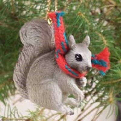 SQUIRREL with Scarf Ornament HAND PAINTED FIGURINE resin Christmas ANIMAL grey