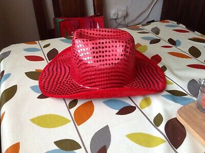 Lovely Quality  Red Sparkly Party Cowboy Hat For Ladies In Good Clean Condition