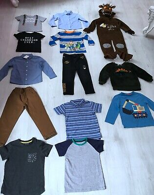 BOYS CLOTHES BUNDLE AGE 3-4 YEARS 13 ITEMS t-shirt jeans trousers jumper shirt