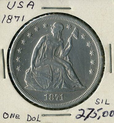 US Coin 1871 Seated Liberty Silver Dollar NO RESERVE!