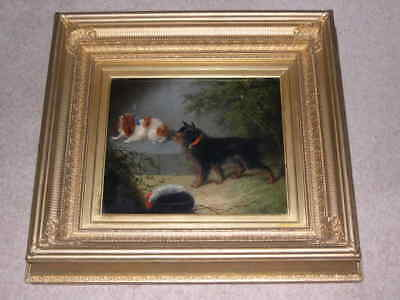 Large Antique King Charles Spaniel & Terrier Dog Oil Painting G Armfield 1870