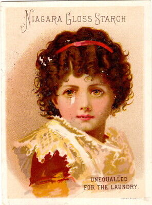 """Niagara Gloss Starch Victorian Trade Card, """"Unequalled For The Laundry"""""""