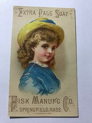 1800's Extra Pale Soap Fisk Mfg Co Springfield, MA Blue Eye Victorian Trade Card