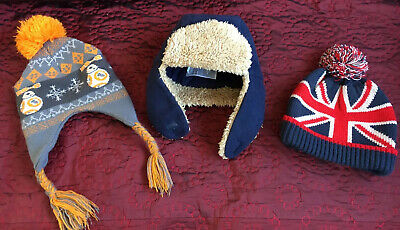 Boys Hat Bundle X3 Hats Size age 2 - 6 Years Beanie Bobble Knit Star Wars  Flag