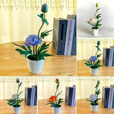 Artificial Flower Peony Plant Potted Bonsai Home Room Office Garden Decorat