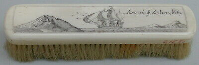Old Original Antique Hair Brush Hand Engraved Sailing Ship Dated 1856 Very Rare