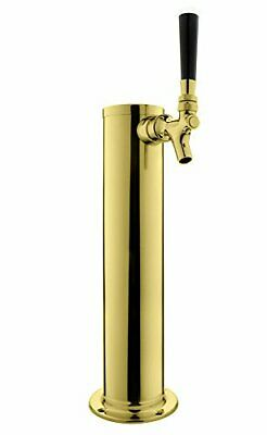 """Kegco BF DT145-1P 14"""" Tall PVD Brass 1-Faucet Draft Beer Tower - Standard Fau..."""