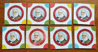 Lot of 8 Old Antique GRANDPA'S WONDER SOAP Cardboard TRADE CARDS Advertising