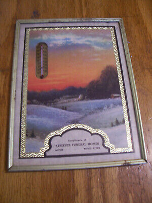 Vintage Streeper Funeral Homes Wood River Illinois Advertising Thermometer