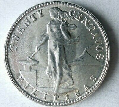 1945 D PHILIPPINES 20 CENTAVOS - UNCIRCULATED Silver Coin - Lot #M6