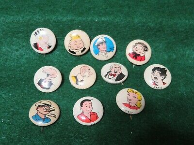 Kellogg Pep cereal pins  11 different from 1946-48-Jigg's+other comic characters