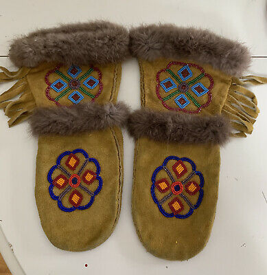 Native American Women's Mittens Gloves Beaded Fur Leather Women's small/med