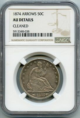 1874 50c Arrows Half Dollar NGC AU DETAILS - CLEANED (GARY 12/28/20) GP