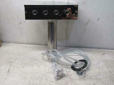 Talos T Style Pedestal Draft Beer Tower Stainless Steel 4 Faucets