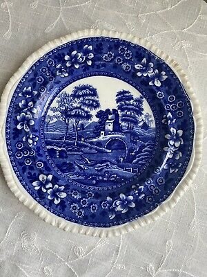 """C. 1834 Copeland, Spode's Tower, England, Blue Gadrooned 9"""" Luncheon Plate"""