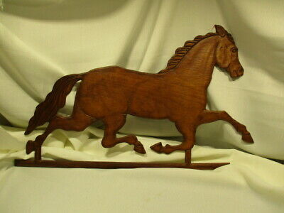 Vintage Wooden Carved Galloping Horse Decorative Wall Hanging Farmhouse Decor