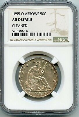 1855-O Arrows 50c Seated Half Dollar NGC AU DETAILS - CLEANED (GARY 12/23/20) GP