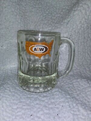"Vintage A&W USA Map Logo Root Beer Mug with Handle Thick Glass - 4 1/2"" Tall"