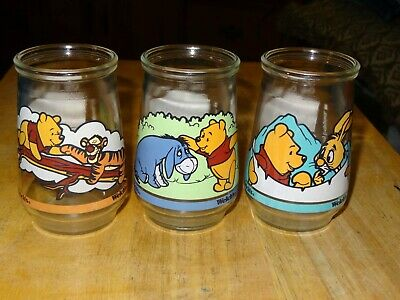 Disney Winnie The Pooh's Grand Adventure Welch's Jelly Jars Juice Glass LOT OF 3