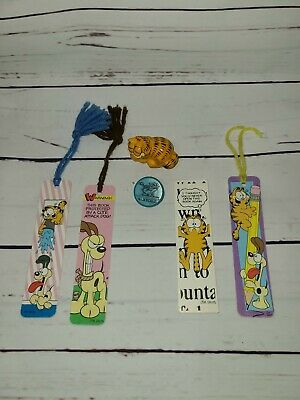 Vintage 1980's Lot 4 GARFIELD Bookmarks clip and nail brush lot ! Odie