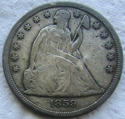 1859-S Seated Liberty Silver Dollar Very Rare Key Date VG / Fine Detail