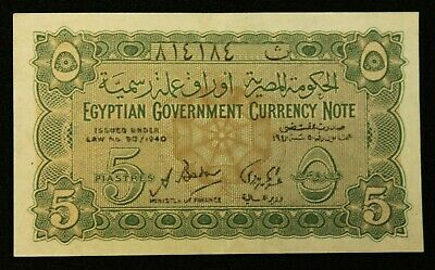 """Egypt Egyptian Banknote 5 Piastres 1940  Original Rare Currency Note """"UNC""""  2101"""