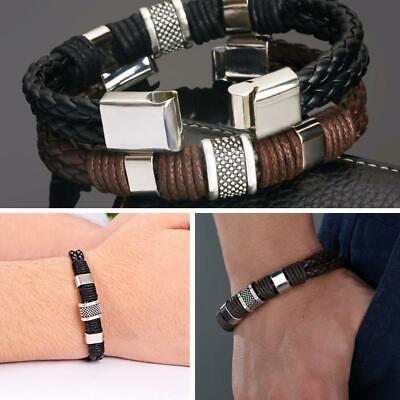 Fashion Mens Leather Braided Wristband Bracelet Stainless Steel E6K3 Clasp G7M0