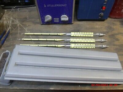 W L WALKER HYDOMETERS Thermometers 3PCS (20-50) (40-60) (50-70) IN CASE FOR OIL