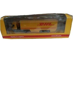 DHL yellow/ Red Truck Brand New Never Been Opened includes plastic display case